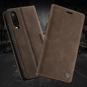 billige Etuier/deksler til Huawei-Etui Til Huawei Huawei P30 / Huawei P30 Pro / Huawei P30 Lite Lommebok / Kortholder / med stativ Heldekkende etui Ensfarget Hard PU Leather