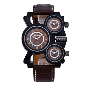 preiswerte Uhren Herren-Oulm Herrn Uhr Militäruhr Quartz überdimensional Echtes Leder Schwarz / Braun Drei-Zeit-Zonen Cool Analog Luxus Weiß Schwarz Kaffee