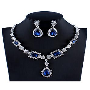 ieftine Seturi de Bijuterii-Pentru femei Albastru Roșu Gri Cristal Seturi de bijuterii de mireasă Geometric Pară Lux Modă Ștras cercei Bijuterii Rosu / Albastru Închis / Gri Pentru Nuntă Logodnă 1set / Cercei