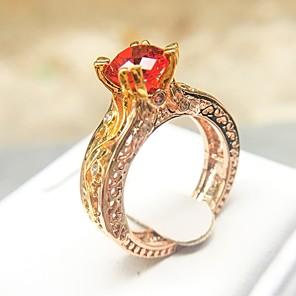ieftine Cârlige Pescuit-Pentru femei Inel de declarație Inel Zirconiu Cubic 1 buc Rosu Articole de ceramică Placat Auriu Diamante Artificiale Montaj de Patru Design Unic Boho Petrecere Bijuterii Eliminat Serie de totemuri
