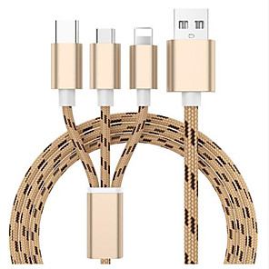 cheap Apple-Micro USB Cable 1.3m(4.3Ft) All-In-1 / Braided Nylon USB Cable Adapter For Samsung / Huawei / Xiaomi