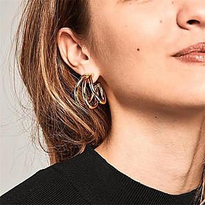 halpa Korvakorut-Naisten Korvarenkaat Korvakorut Geometrinen Yksinkertainen Korea Muoti Moderni korvakorut Korut Kulta Käyttötarkoitus Päivittäin Katu Pyhäpäivä Työ 1 Pair