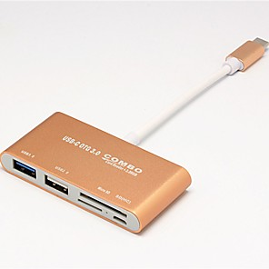 ieftine USB-uri-Unestech DSZD5115-T693G USB 3.0 Tip C to USB 2.0 / USB 3.0 / Card SD / Card TF Hub USB 5 porturi Cu cititor de carduri (s) / OTG / Suport Thunderbolt 3