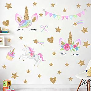 ieftine Acțibilde de Decorațiuni-curcubeu stea drăguț stickers unicorn perete - cuvinte& citate autocolante de perete / autocolante perete plane caractere cameră / birou / sala de mese / bucătărie