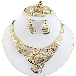 ieftine Ghidon & Mânere & Suport-Pentru femei Auriu Seturi de bijuterii de mireasă Link / Lanț Floare Vintage Ștras cercei Bijuterii Auriu Pentru Nuntă Logodnă Cadou 1set / Cercei