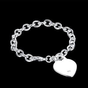 ieftine Produse Fard-Pentru femei Brățări cu Lanț & Legături Brățară cu Pandativ Eliminat Inimă Clasic De Bază Articole de ceramică Bijuterii brățară Argintiu Pentru Zilnic Muncă / Argilă