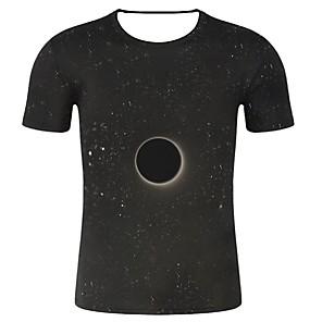 povoljno Zidni ukrasi-Veći konfekcijski brojevi Majica s rukavima Muškarci Pamuk Galaksija / 3D / Grafika Okrugli izrez Print Crn
