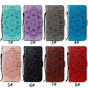 Недорогие Чехлы и кейсы для Galaxy А-Кейс для Назначение SSamsung Galaxy A5(2018) / A6 (2018) / A6+ (2018) Бумажник для карт / со стендом / Флип Чехол Цветы Твердый Кожа PU