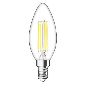 ieftine Becuri LED Lumânare-1 buc 4 W 400 lm E14 Becuri LED Lumânare C35 4 LED-uri de margele COB Intensitate Luminoasă Reglabilă Alb Cald 220-240 V / 1 bc / RoHs