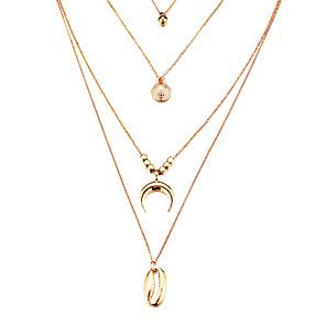 ieftine Colier la Modă-Pentru femei Coliere cu Pandativ Coliere Layered Multistratificat Scoică Boem Modă Boho Argilă Placat Auriu Auriu Argintiu 40 cm Coliere Bijuterii 1 buc Pentru Cadou Concediu