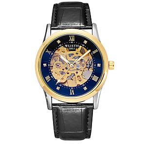 ieftine Ceasuri Bărbați-Bărbați ceas mecanic Mecanism automat Piele Autentică Negru / Maro 30 m Rezistent la Apă Gravură scobită Iluminat Analog Vintage Schelet - Auriu+Negru Auriu+Alb Argintiu / alb