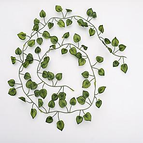 ieftine Gadget-uri De Glume-12pcs viță de flori 72pcs frunze 1 bucată 2m decoratiuni interioare artificiale frunze de iedera garland plantă viță de vie frunze de flori reptile verde iederă coroană
