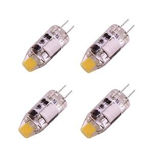 ieftine Becuri LED Bi-pin-4 buc 1 W Becuri LED Bi-pin 160 lm G4 T 1 LED-uri de margele COB Alb Cald Alb 12 V