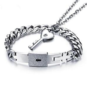 ieftine Seturi de Bijuterii-Bărbați Pentru femei Brățări cu Lanț & Legături Coliere cu Pandativ Două-Tonuri Chei Iubire Stilat Oțel titan cercei Bijuterii Argintiu Pentru Logodnă Zilnic 2
