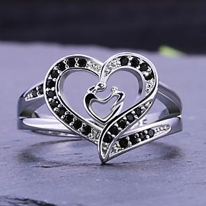 Dame Statement Ring Ring Kubisk Zirkonium 1pc Hvit Kobber Geometrisk Form Stilfull Luksus Fest Gave Smykker Hjerte Kul