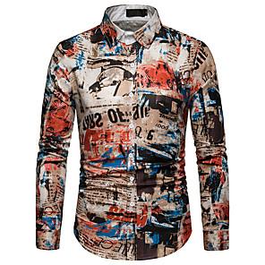 お買い得  メンズシャツ-男性用 プリント EU / USサイズ シャツ レギュラーカラー 虹色 / グラフィック / トライバル コットン レインボー