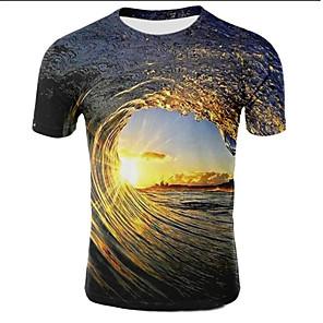 povoljno Muške majice i potkošulje-Veći konfekcijski brojevi Majica s rukavima Muškarci Galaksija / 3D Okrugli izrez Print Svjetlosmeđ