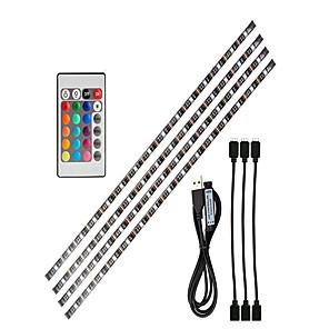 ieftine Set Becuri-0.5m Fâșii De Becuri LEd Flexibile / Fâșii RGB 15 LED-uri SMD5050 1 Controler la distanță de 24 de taste 1set RGB Fundal TV Alimentat USB