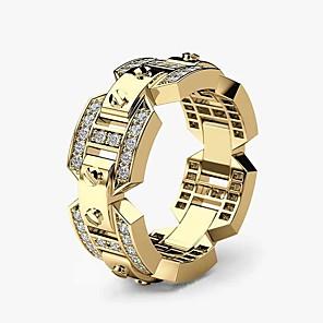 ieftine Inele-Bărbați Band Ring Inel Zirconiu Cubic 1 buc Roz auriu Alb Galben Articole de ceramică Placat Auriu Placat Cu Aur Roz Geometric Shape Stilat Lux Petrecere Cadou Bijuterii Muchie de cuțit Cool