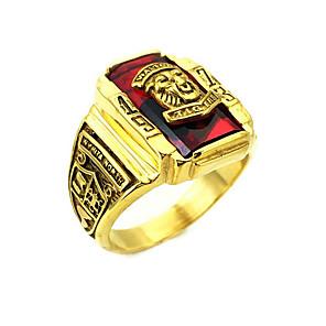 ราคาถูก แหวน-สำหรับผู้ชาย แหวน 1pc สีดำ สีเขียว สีแดงเบอร์กันดี เหล็กกล้าไร้สนิม ทองชุบ งานแต่งงาน ทุกวัน เครื่องประดับ Tiger