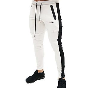 povoljno Muški satovi-Muškarci Sportski Slim Sportske hlače Hlače - Prugasti uzorak Plava Obala Crn L XL XXL