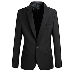 ieftine Blazer & Costume de Bărbați-Bărbați Mărime Plus Size Blazer, Mată Guler Cămașă Poliester Negru / Roșu Vin / Albastru piscină