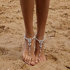 ieftine Lumini de Rulare Zi-Sandale Desculț Cute Stil Pentru femei Bijuterii de corp Pentru Zilnic Imitație de Perle Aliaj Argintiu 1 buc