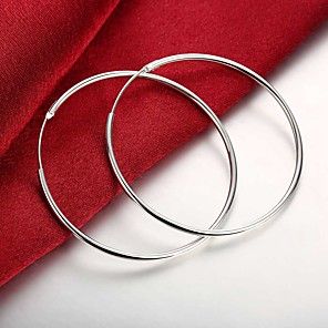 hesapli Küpeler-Kadın's Halka Küpeler Şık Basit Kocaman Gümüş Kaplama Küpeler Mücevher Gümüş Uyumluluk Günlük Çalışma 1 çift