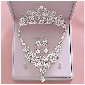 ieftine Seturi de Bijuterii-Pentru femei Transparent Seturi de bijuterii de mireasă Coroane Binecuvântat Lux Modă Ștras cercei Bijuterii Argintiu Pentru Nuntă Petrecere Logodnă 1set / Cercei