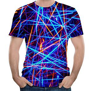 お買い得  LED T シャツ-男性用 プリント プラスサイズ Tシャツ ラウンドネック 3D ネービーブルー / 半袖