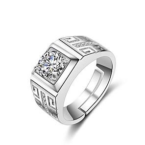 ieftine Inele-Bărbați manşetă Ring Inel deschis Inel reglabil 1 buc Argintiu Alamă Ștras Argilă Pătrat Stilat Simplu Zilnic Muncă Bijuterii Clasic Prețios Cool