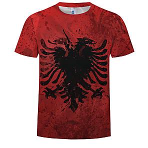 povoljno Muške majice s kapuljačom i trenirke-Veličina EU / SAD Majica s rukavima Muškarci 3D Okrugli izrez Slim Red
