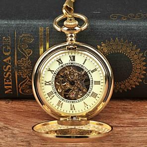 povoljno Muški satovi-Muškarci Džepni sat Mehanički na navijanje Zlatna Casual sat Velika kazaljka Analog Ležerne prilike Skeleton - Zlato