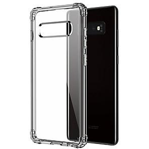 Недорогие Защитные плёнки для экранов Samsung-Кейс для Назначение SSamsung Galaxy Galaxy S10 Защита от удара / Прозрачный Кейс на заднюю панель Прозрачный Мягкий ТПУ