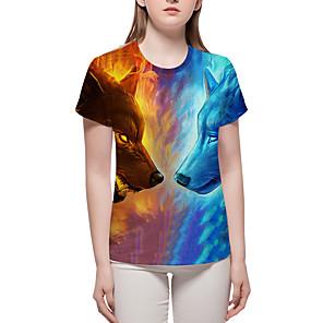 povoljno Muške majice i potkošulje-Veći konfekcijski brojevi Majica s rukavima Žene - Osnovni / pretjeran Ulica / Ležerno / za svaki dan Color block / 3D / Životinja Print Plava XL