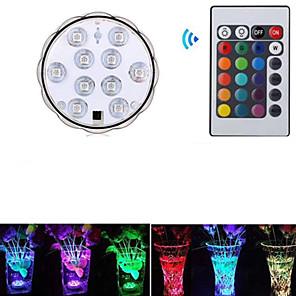 お買い得  LED ソーラーライト-1個 3 W 水中ライト 防水 / リモコン / 装飾用 RGB 5.5 V スイミングプール / 花瓶や水族館に適しています 10 LEDビーズ