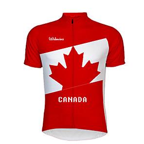 abordables Ropa de ciclismo para hombres-21Grams Canadá Bandera Hombre Manga Corta Maillot de Ciclismo - Rojo / Blanco Bicicleta Top Resistente a los rayos UV Transpirable Dispersor de humedad Deportes Terileno Ciclismo de Montaña Ciclismo