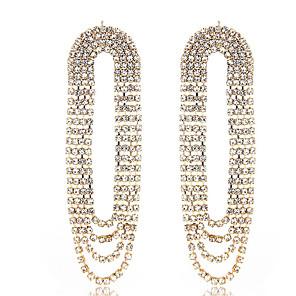 ieftine Produse Fard-Pentru femei Cercei Picătură Cercei Franjuri Lux European Elegant Diamante Artificiale cercei Bijuterii Auriu / Argintiu Pentru Nuntă Aniversare Logodnă Cadou Zilnic 1 Pair