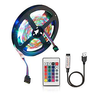 ieftine Set Becuri-zdm 5v 2m alimentat cu usb smd 120 x 2835 benzi luminoase led de 8mm culoare cu 24 de taste ir telecomandă pentru iluminare pe fundal tv pc notebook decorare acasă