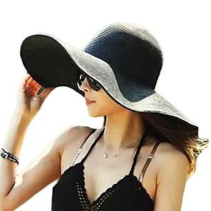 ieftine Pălării Femei-Pentru femei Mată De Bază,Paie-Paie Căciulă Palarie de soare Vară Toamnă Galben Fucsia Albastru Deschis