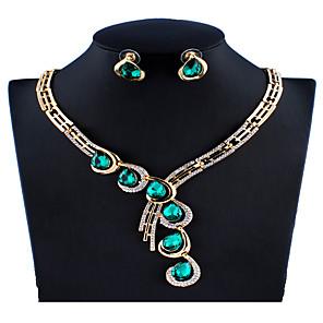 ieftine Seturi de Bijuterii-Pentru femei Albastru Verde Roșu Seturi de bijuterii de mireasă Link / Lanț Picătură Vintage Elegant Plin de Culoare Ștras cercei Bijuterii Verde / Rosu / Albastru Pentru Crăciun Nuntă Petrecere