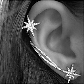 hesapli Küpeler-Kadın's Kulak Manşetleri Kar Tanesi Şık Basit Küpeler Mücevher Gümüş Uyumluluk Günlük Çalışma 2pcs