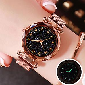 ieftine Cuarț ceasuri-Pentru femei Quartz Quartz Plasă Stl Oțel inoxidabil Negru / Albastru / Violet 30 m Rezistent la Apă Ceas Casual Cool Analog Magnetic Modă - Negru Mov Roz auriu Un an Durată de Viaţă Baterie