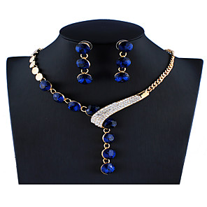 ieftine Seturi de Bijuterii-Pentru femei Mov Negru Albastru Seturi de bijuterii de mireasă Link / Lanț Minge Lux Elegant Plin de Culoare Ștras cercei Bijuterii Negru / Alb / Mov Pentru Crăciun Nuntă Petrecere Logodnă Cadou 1set