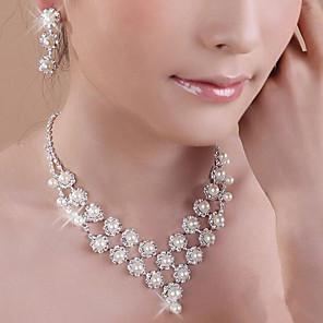 ieftine Seturi de Bijuterii-Perle Seturi de bijuterii Coliere cu Pandativ Franjuri femei Ciucure Petrecere Strat dublu Perle Zirconiu Cubic Argilă cercei Bijuterii Alb Pentru Petrecere Zi de Naștere Logodnă Cadou / Cercei