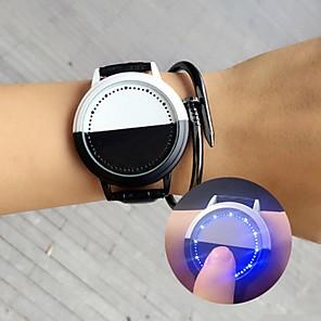 ieftine Ceasuri Damă-Bărbați Ceas digital Piloane de Menținut Carnea Piele Negru / Alb Lumină LED Ceas Casual Piloane de Menținut Carnea Casual Modă - Negru Alb