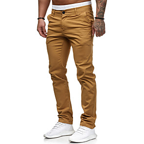 ieftine Colier la Modă-Bărbați Pantaloni Casual Activ Purtare Zilnică Bumbac Jogger Pantaloni Pantaloni Chinos Pantaloni Mată Clasic Fermoar Vintage Alb Negru Roșu-aprins M L XL