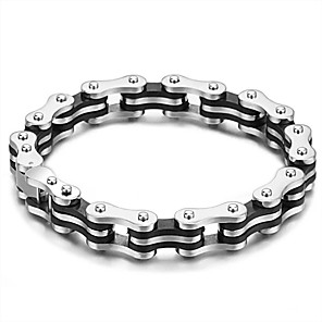 ieftine Brățări-Bărbați Pentru femei Argintiu Negru Brățări cu Lanț & Legături Geometric Vertical Simplu Oțel titan Bijuterii brățară Argintiu Pentru Festival