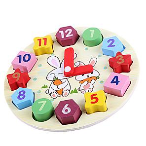 hesapli İnşaat ve Bloklar-Ahşap Saat Oyuncağı Oyuncaklar Yuvarlak Eğitim Ahşap Çocuklar için Parçalar
