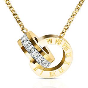 levne Náhrdelníky s přívěšky-Dámské Náhrdelníky s přívěšky Nerez Zlatá Stříbrná Růžové zlato 50+5 cm Náhrdelníky Šperky 1ks Pro Dar Festival